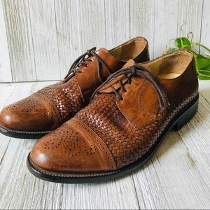 J&M Woven Leather Made In Italy Cap Toe Oxfords